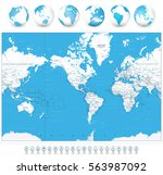 america centered world map and... | Shutterstock .eps vector #563987092