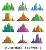 vector set of twelve cartoon... | Shutterstock .eps vector #563995648