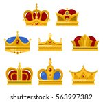set of different type crowns... | Shutterstock .eps vector #563997382