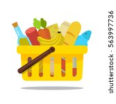 shopping basket with food and... | Shutterstock .eps vector #563997736
