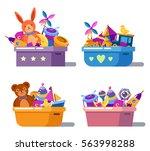 kid or children cartoon toys in ... | Shutterstock .eps vector #563998288