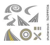 asphalt curved roads. highway... | Shutterstock .eps vector #563999536