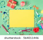 blank yellow sheet of paper... | Shutterstock . vector #564011446