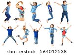 Cute Jumping Children On White...