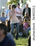 new york   july 1  a fan dances ... | Shutterstock . vector #56402311