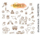 hand drawn doodle love and... | Shutterstock .eps vector #564023896