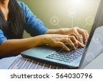close up of typing male hands... | Shutterstock . vector #564030796