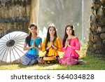 asian woman wearing traditional ... | Shutterstock . vector #564034828