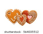 heart cookies isolated on white ...   Shutterstock . vector #564035512