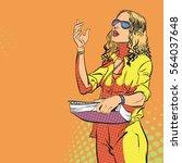 young women managing process.... | Shutterstock . vector #564037648