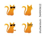 Stock vector cute red ginger cat vector illustration sunglasses wayfarer thumbs up 564043612