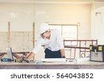 handsome engineer working in...   Shutterstock . vector #564043852