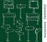 vector set of chalk sketch... | Shutterstock .eps vector #564050905