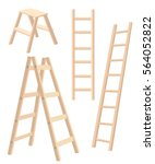 Vector illustration aluminum step folding ladder with standing platform stool and hand bar wooden step ladders - stock vector