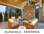 chic covered back patio with... | Shutterstock . vector #564058426