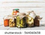 Preserved Vegetables On Wooden...