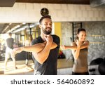 healthy athletes exercising at... | Shutterstock . vector #564060892