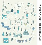 set of hand drawn party doodles ... | Shutterstock .eps vector #564065662
