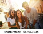 group of happy young friends... | Shutterstock . vector #564068935