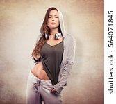 beautiful young woman in urban... | Shutterstock . vector #564071845