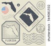 retro vintage postage stamps... | Shutterstock .eps vector #564081532