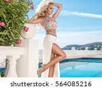 beautiful blonde young sexy...   Shutterstock . vector #564085216