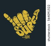 surfing hand sign aloha print | Shutterstock .eps vector #564091522