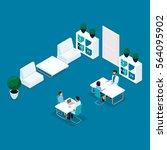 trendy people isometric  doctor'... | Shutterstock .eps vector #564095902