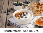 homemade granola with... | Shutterstock . vector #564103975