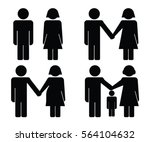 stick figure family vector | Shutterstock .eps vector #564104632
