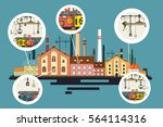 old factory with chimney stacks.... | Shutterstock .eps vector #564114316