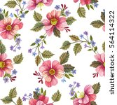 Stock photo seamless pattern with flowers watercolor hand drawn illustration floral background 564114322