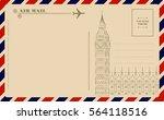 vintage postcard with big ben | Shutterstock .eps vector #564118516