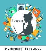 woman shopped online store. e...