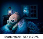 teddy bear in bed. sleep at... | Shutterstock . vector #564119296