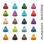 set of color winter hats in... | Shutterstock .eps vector #564123046