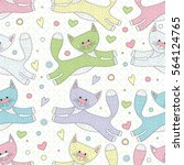 cute seamless pattern with cats ...   Shutterstock .eps vector #564124765