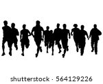 people athletes on running race ... | Shutterstock . vector #564129226