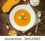 pumpkin soup with toasts | Shutterstock . vector #564135892