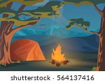 climbing  walking  hiking or... | Shutterstock .eps vector #564137416