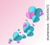 paper hearts on a light blue... | Shutterstock .eps vector #564145672
