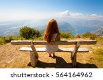 Small photo of View of the Kotor Bay and girl