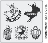 set of vintage rodeo labels ... | Shutterstock .eps vector #564177346
