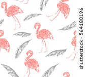 summer flamingo and palm leaves ... | Shutterstock .eps vector #564180196
