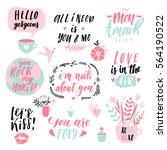 valentine's day hand drawn... | Shutterstock .eps vector #564190522