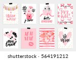 Collection of pink, black, white colored Valentine's day card,World kiss day sale and other flyer templates with lettering. Typography poster, card, label, banner design set. Vector illustration EPS10 | Shutterstock vector #564191212
