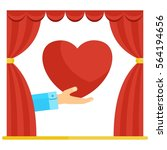 hand shows heart in theater red ... | Shutterstock .eps vector #564194656