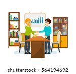businessman in office work... | Shutterstock .eps vector #564194692