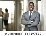 handsome cheerful african... | Shutterstock . vector #564197512