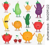 cartoon fruits and vegetables.... | Shutterstock .eps vector #564209122